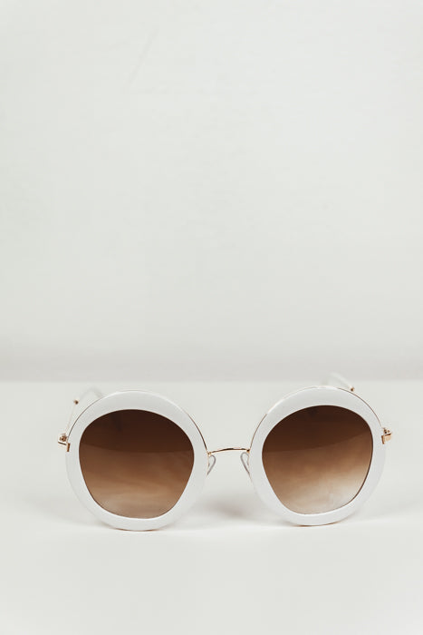 Gia Circle Shades - White/Gold