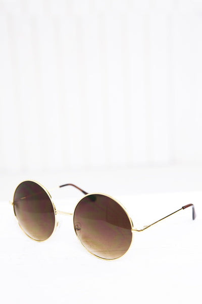 Farrah Round Sunglasses - Gold/Brown