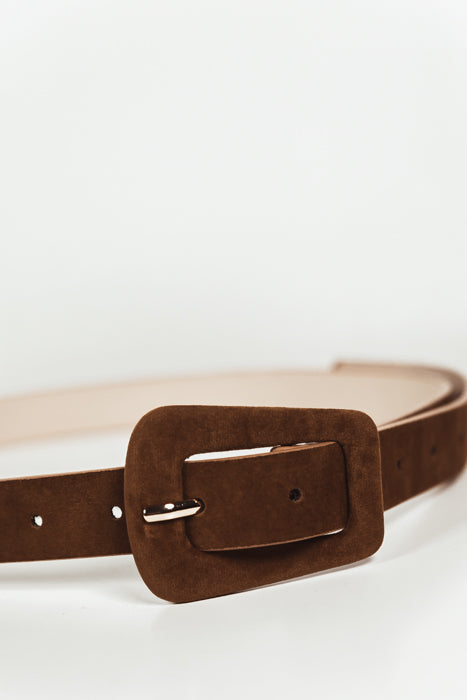 Buckle Suede Belt - Brown