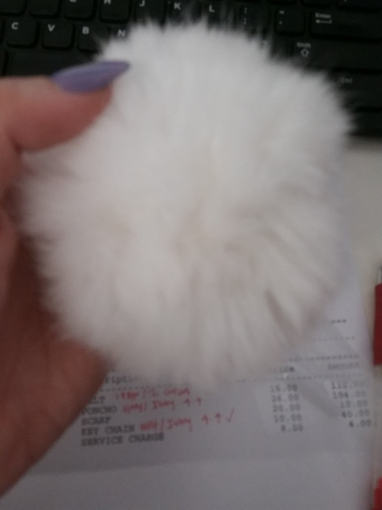 Dalyn Fur Ball Keychain - White
