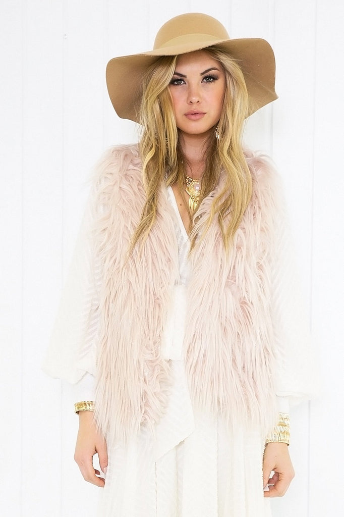 Dalise Faux Fur Vest - Blush
