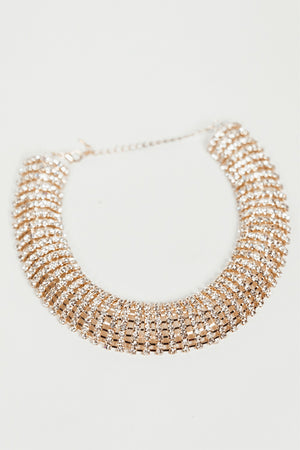Crystals Choker Necklace - Gold