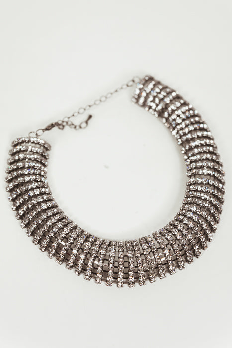 Crystals Choker Necklace - Silver