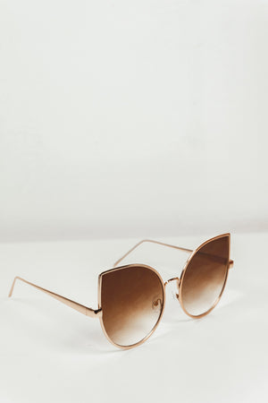 Half Way There Sunglasses - Gold/Brown