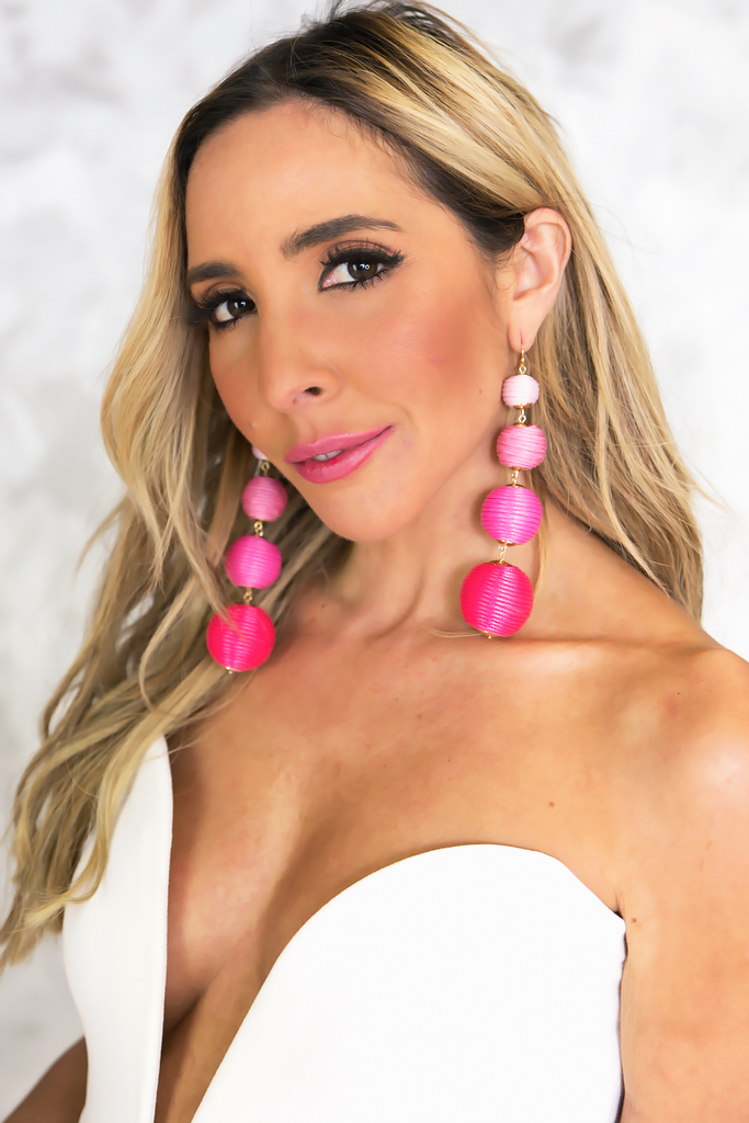 Four Balls Dangle Earring - Pink