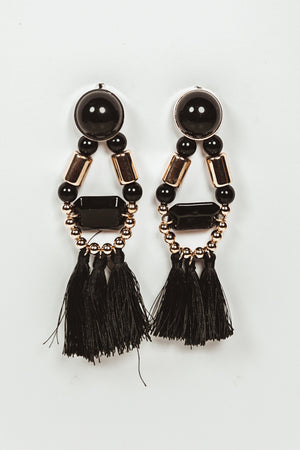 Stone & Fringe Statement Earring - Black