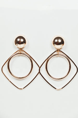 Hoop Inside Square Metal Earring
