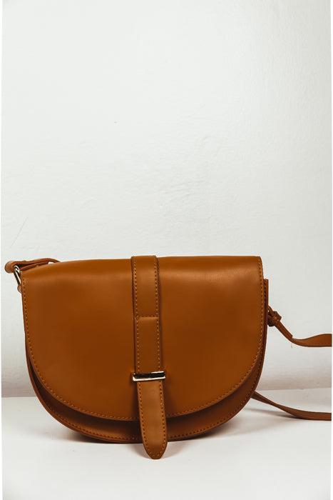 Leather Crossbody Bag - Camel