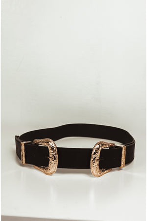 Double Buckle Belt - Black/Gold