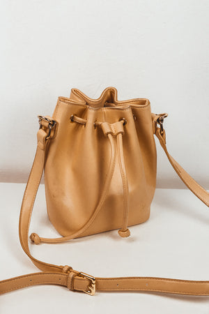 Leather Bucket Bag - Nude