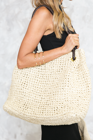 Twisted Handle Straw Bag - Natural - Haute & Rebellious
