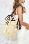 Large Straw Bucket Bag - Natural - Haute & Rebellious