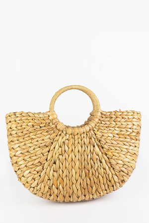Circle Handle Straw Basket Bag - Haute & Rebellious