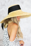 Ribbon Large Brim Straw Hat - Haute & Rebellious