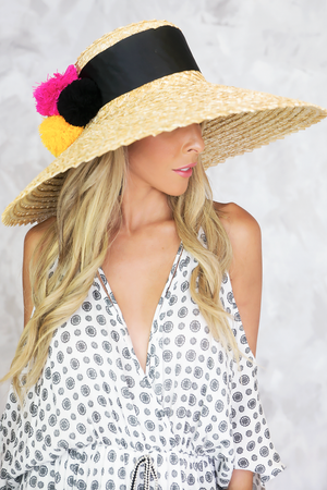 Pom-Pom Large Brim Straw Hat - Haute & Rebellious