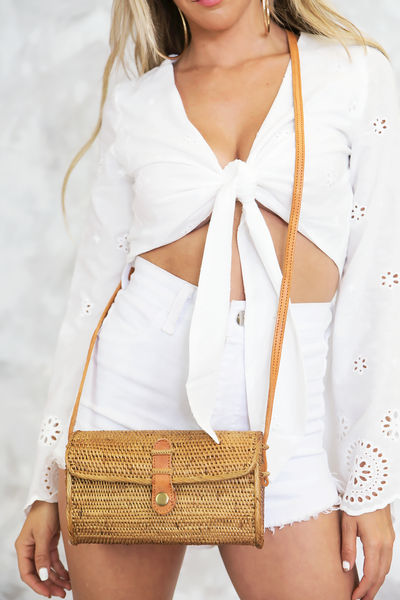 Natural Cross-Body Rectangle Basket Bag