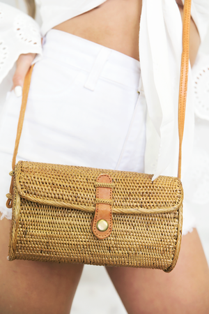 Natural Cross-Body Rectangle Basket Bag - Haute & Rebellious