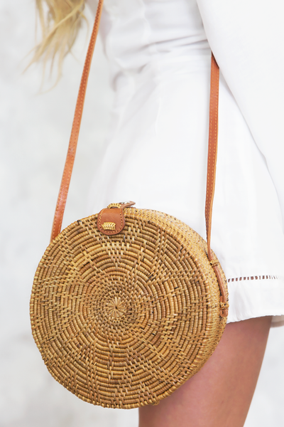 Natural Cross-Body Circle Basket Bag