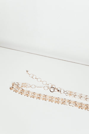 Coco Metal Chain Belt with Fabric - Cream