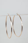 Twisted Metal Large Thin Hoop Earrings