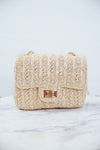 Small Quilted Straw Bag