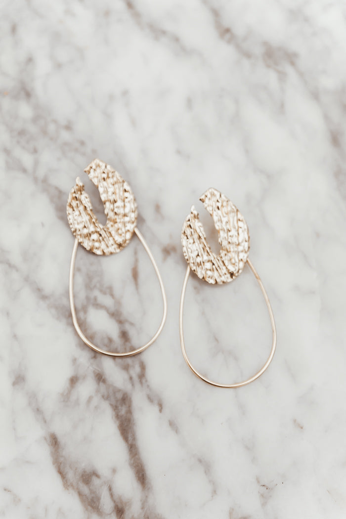 Lava Gold Oval Hoop Earring