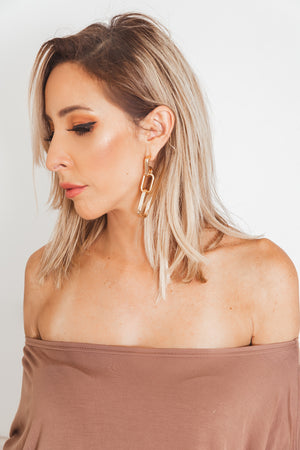 Solid Gold Chain Dangle Earring