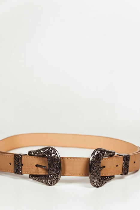 Double Buckle Belt - Tan