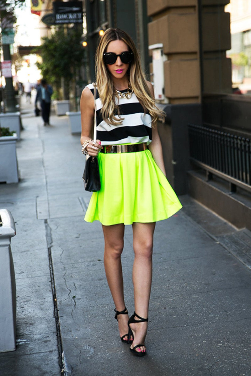 A-LINE RUFFLE SKIRT - Highlighter - Haute & Rebellious