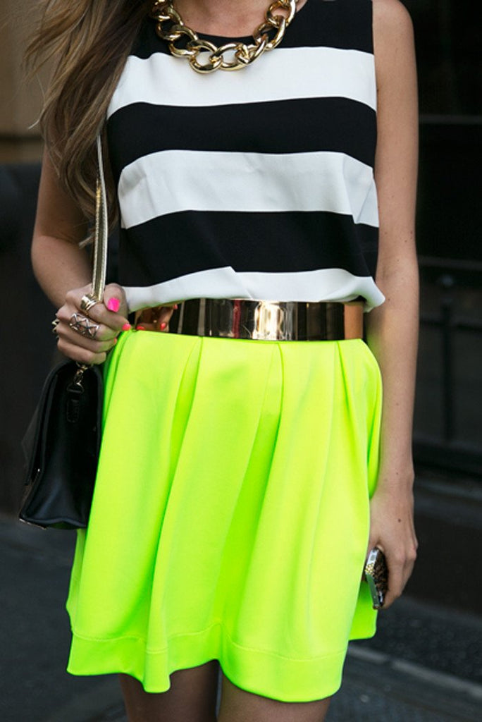A-LINE RUFFLE SKIRT - Highlighter
