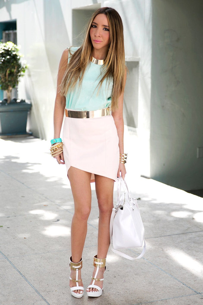 ASYMMETRICAL SCUBA MINI SKIRT - Peach