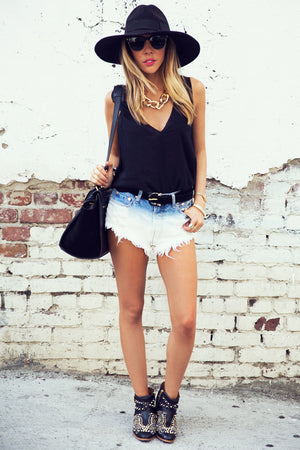 OMBRE DIP-DYED STUDDED DENIM SHORTS - Haute & Rebellious