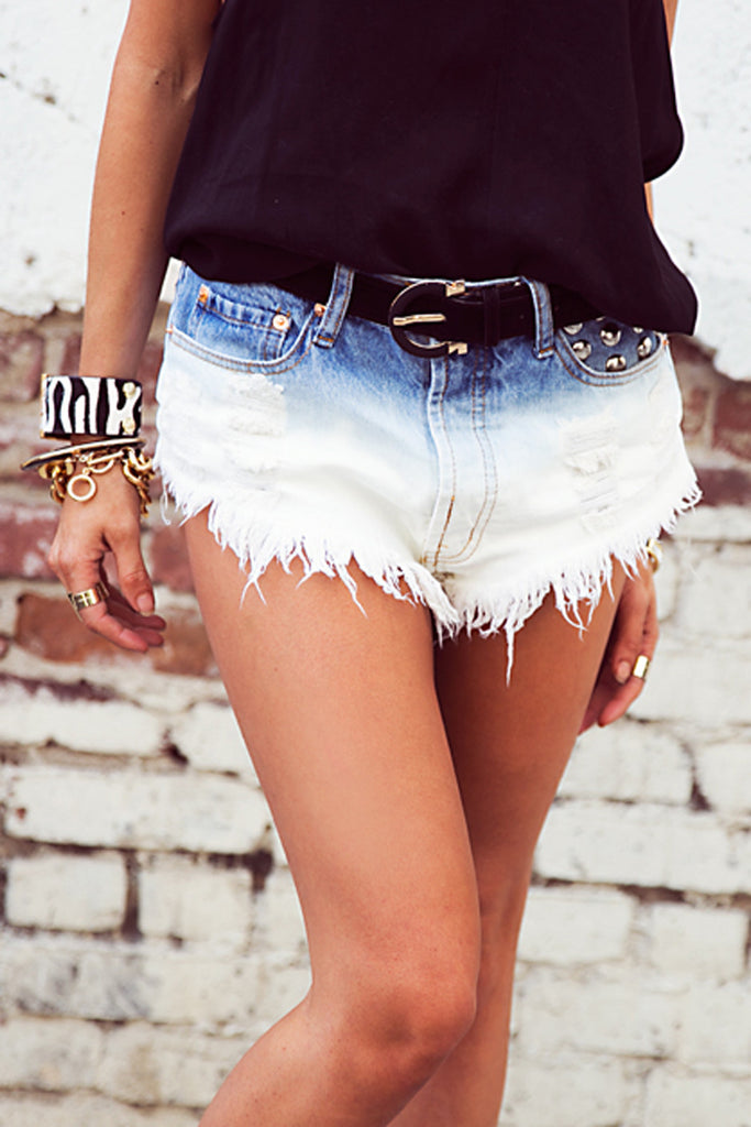 OMBRE DIP-DYED STUDDED DENIM SHORTS