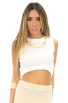 CASI KNIT CROP TOP - White - Haute & Rebellious
