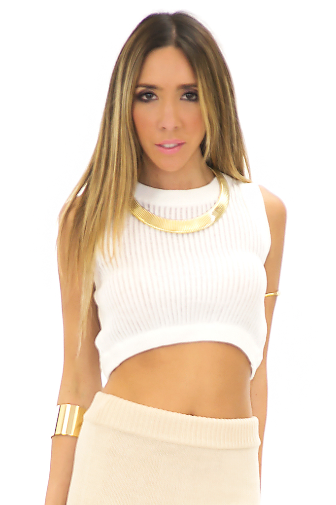 CASI KNIT CROP TOP - White
