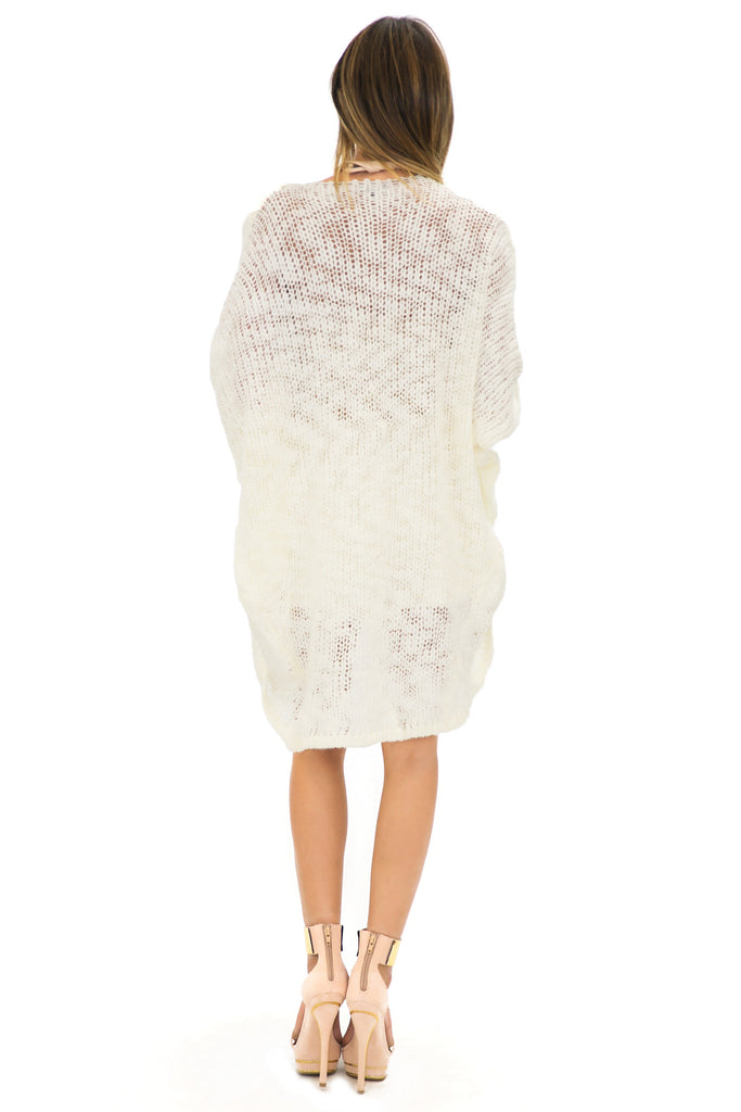 VERN KNIT DRAPED CARDIGAN - Cream