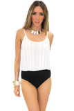 STEFEN PLEAT CHIFFON BODYSUIT - White