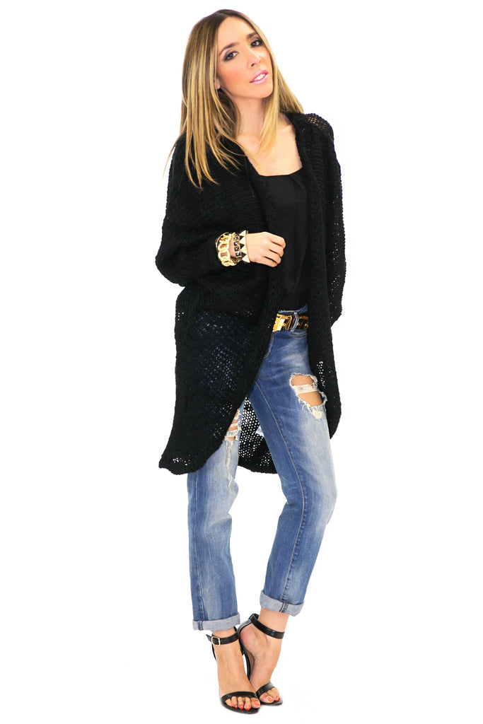 VERN KNIT DRAPED CARDIGAN - Black