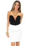 ESTER PEPLUM HEART TOP DRESS - White/Black - Haute & Rebellious
