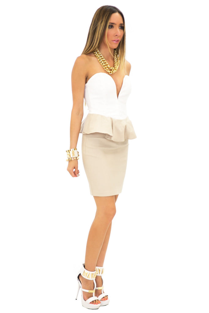 ESTER PEPLUM HEART TOP DRESS - White/Taupe
