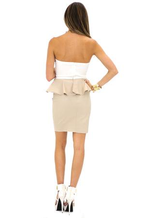 ESTER PEPLUM HEART TOP DRESS - White/Taupe - Haute & Rebellious