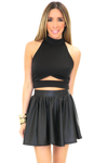 SID CUTOUT HALTER CROP TOP - Black - Haute & Rebellious