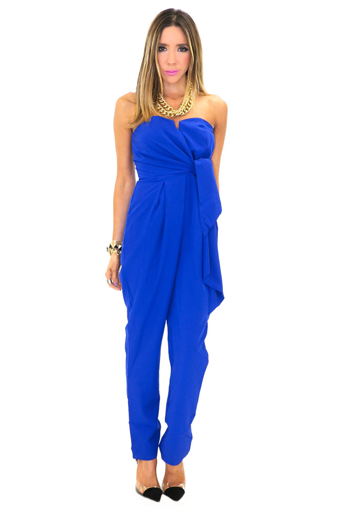 CANDENCE STRAPLESS BOW TIE JUMPSUIT - Blue - Haute & Rebellious