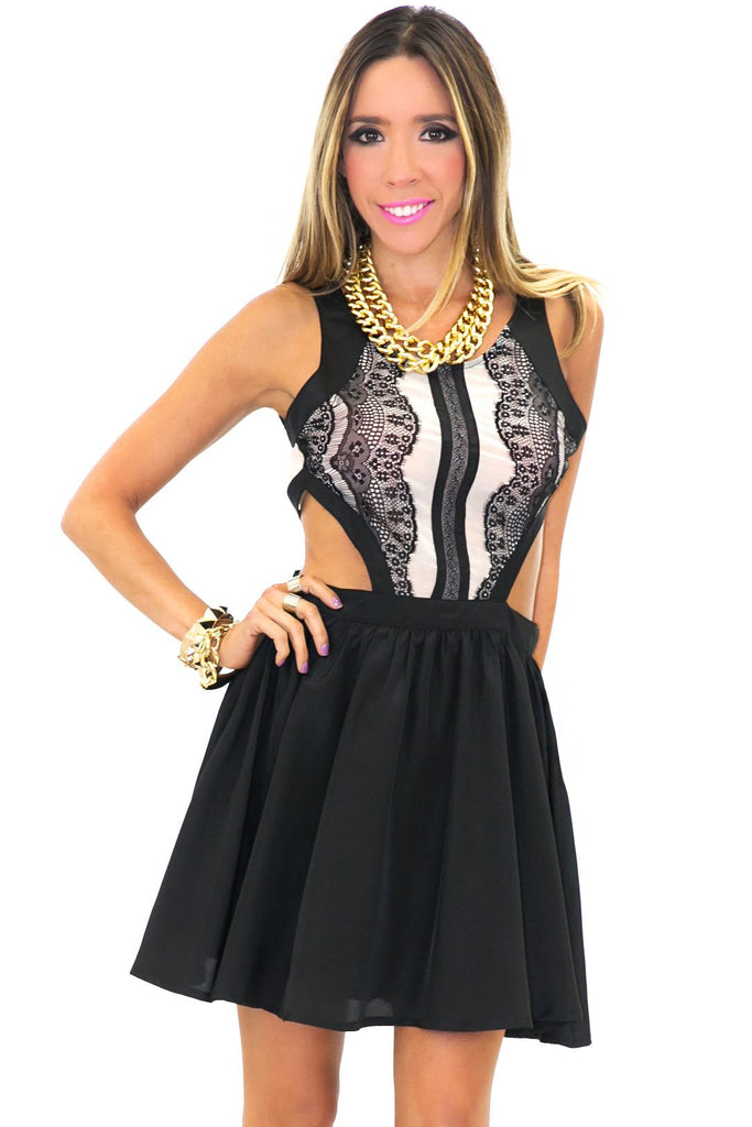 CAMILA CUTOUT CONTRAST LACE DRESS - Black