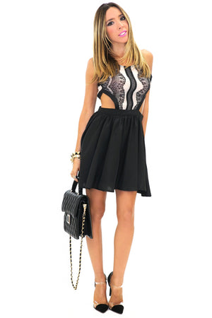 CAMILA CUTOUT CONTRAST LACE DRESS - Black - Haute & Rebellious
