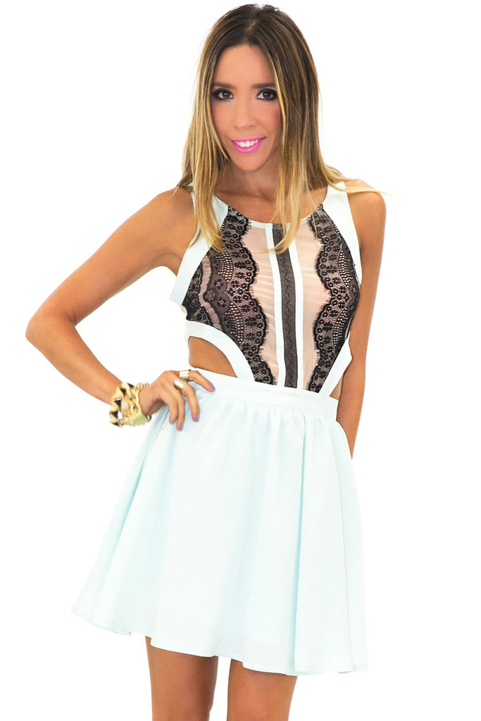 CAMILA CUTOUT CONTRAST LACE DRESS - Mint
