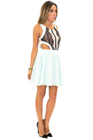 CAMILA CUTOUT CONTRAST LACE DRESS - Mint - Haute & Rebellious
