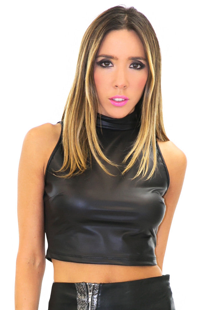 VEGAN LEATHER SLEEVELESS CROP TOP - Black