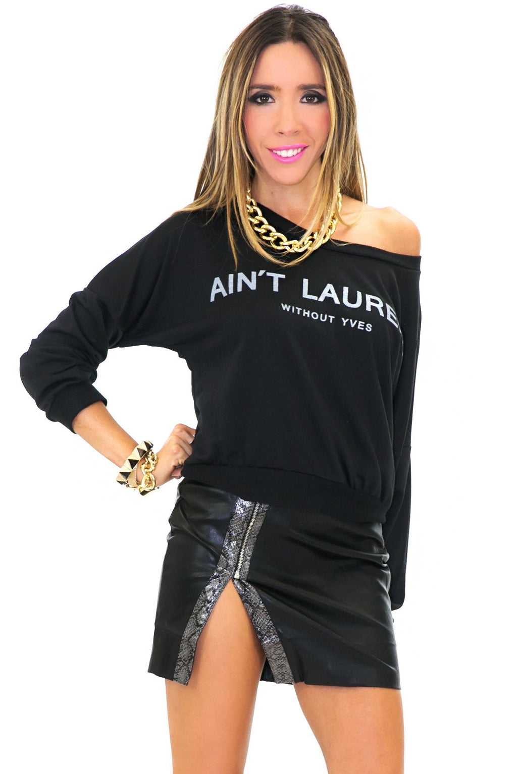 AIN'T LAURENT SWEATER TOP - Black - Haute & Rebellious