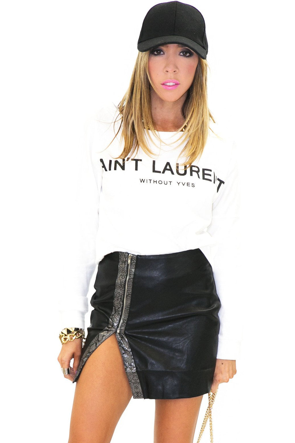 AIN'T LAURENT SWEATER TOP - White - Haute & Rebellious